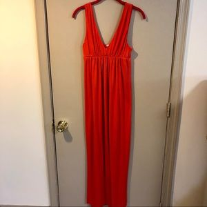 J Crew V Neck Orange Maxi Dress - EUC - Small